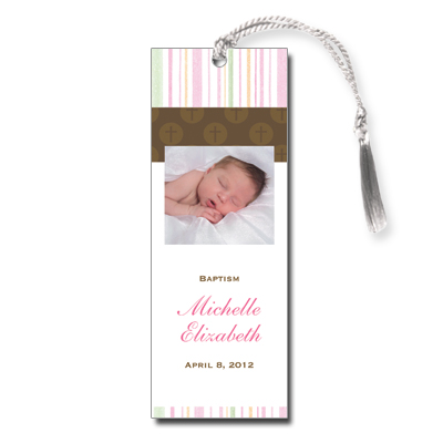 Mod Religious Pink Stripes Bookmark