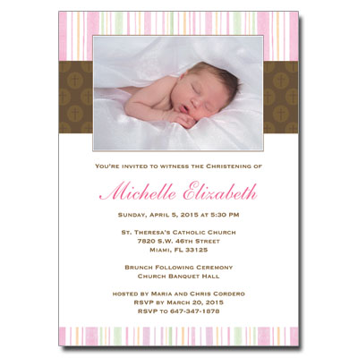 Mod Religious Pink Stripes Invitation