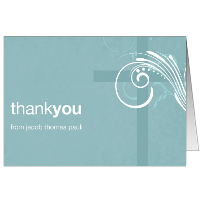 Modern Teal Swirl Thank You Christening Thank You Note Cards