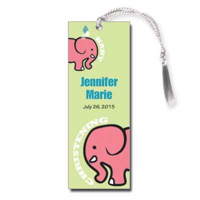 Mama & Baby Elephant Bookmark - Christening