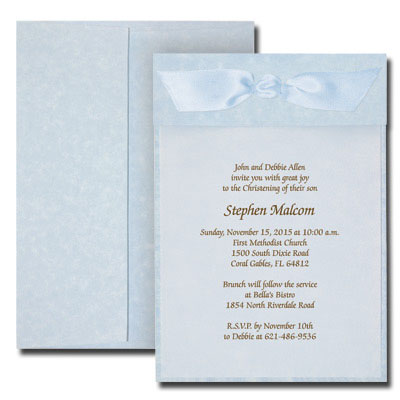 Blue Parchment Invitation with Vellum
