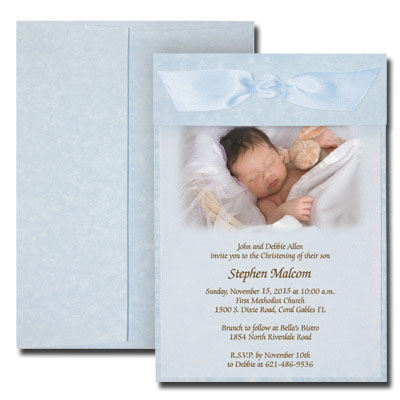Blue Parchment Photo Invitation with Vellum