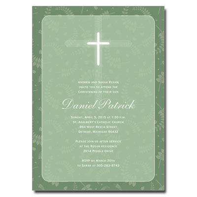 Round Green Frame Invitation