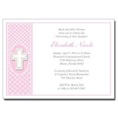 Lace Cross Pink Invitation