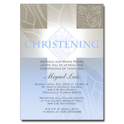 Pastel Boy Cross Invitation - Christening