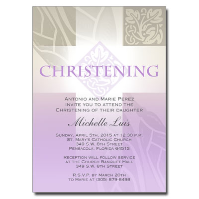 Pastel Girl Cross Invitation - Christening