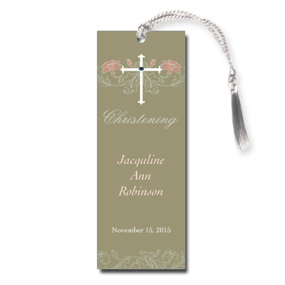 Jeweled Peach Flora Bookmark - Christening