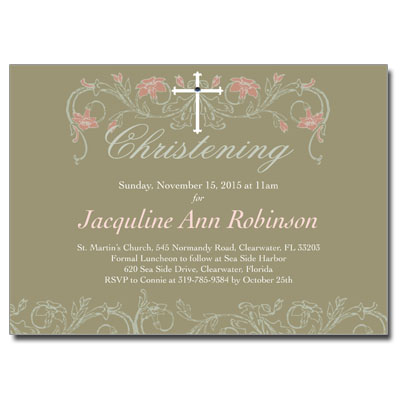 Jeweled Peach Flora Invitation - Christening