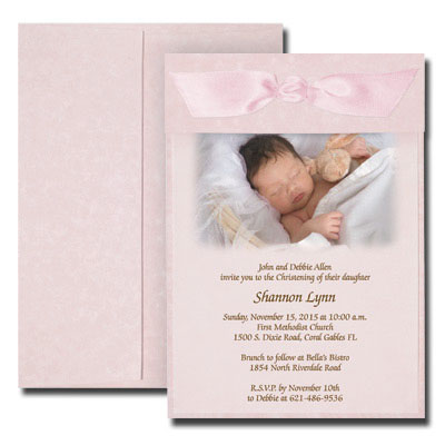 Pink Parchment Photo Invitation with Vellum