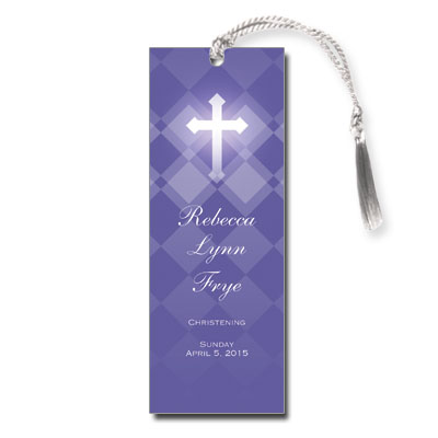 Purple Argyle Keepsake Bookmark