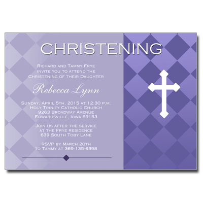 Purple Argyle Invitation - Christening