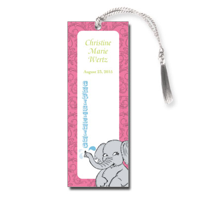 Elephant Splash Bookmark - Christening