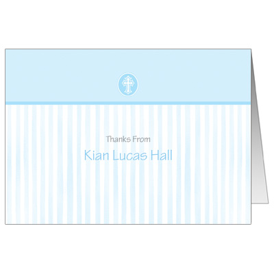 Blue Scalloped Border Note Card